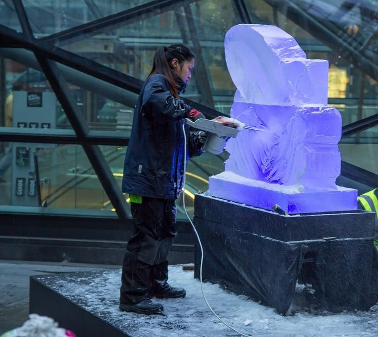 Ice, Festival, Live carving