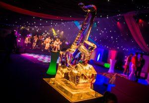 Saxophone, ice sculpture, vodka luge