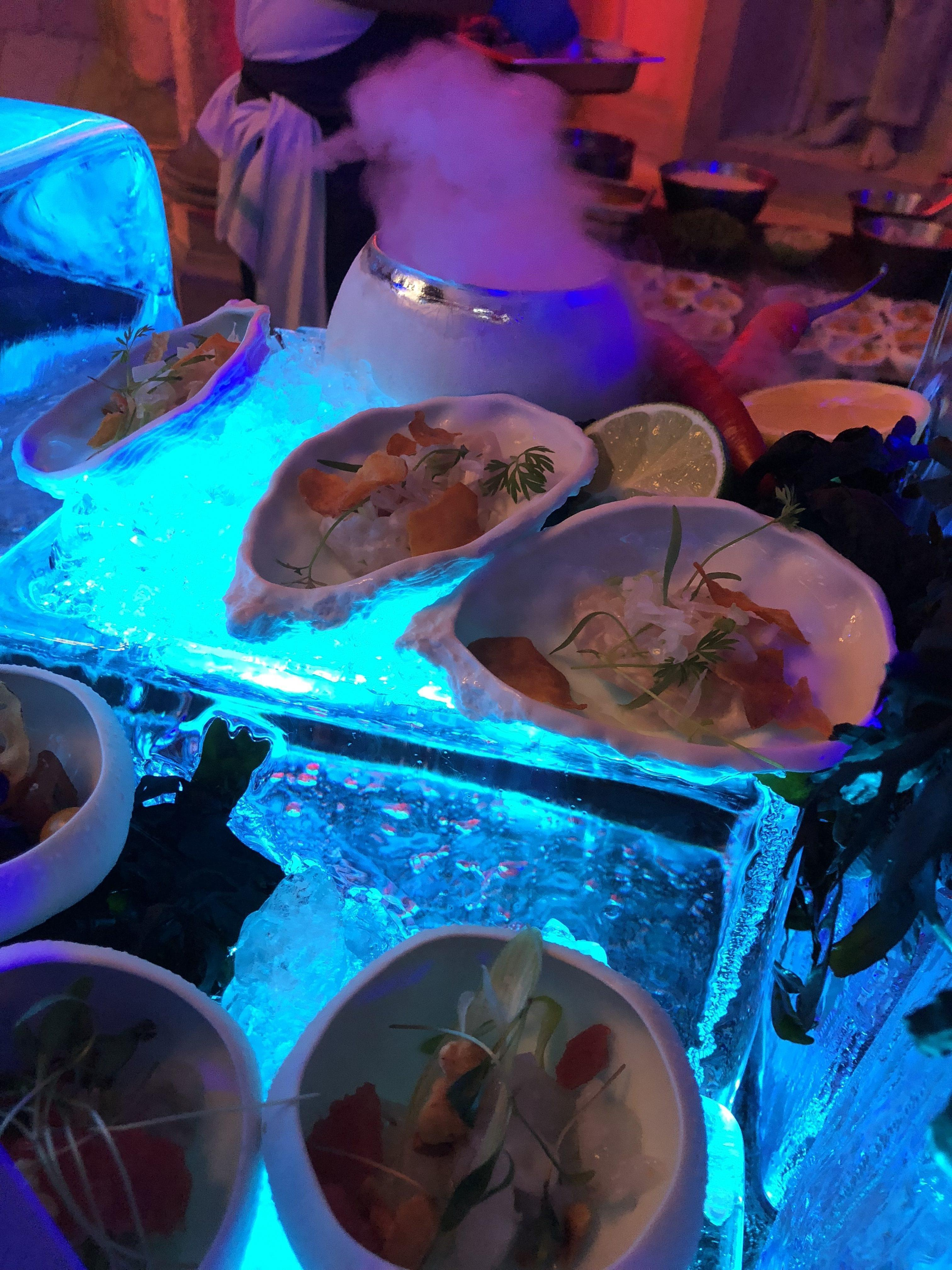 Ice Seafood Station with Dry Ice Effects