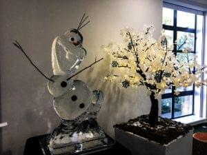 Olaf made from pure ice for a frozen theme party image without flash
