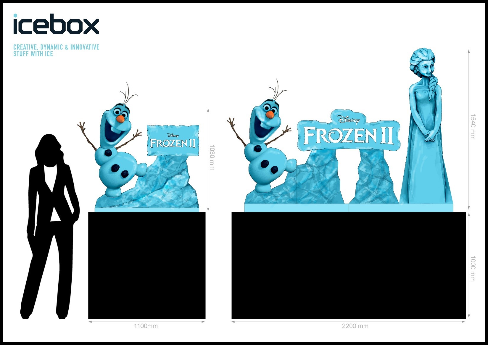 Frozen 2 mock up ice sculpture design