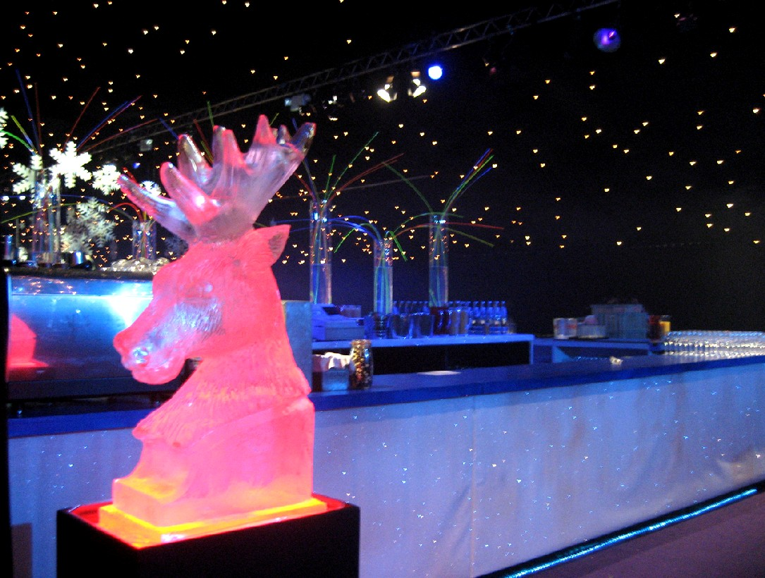 Reindeer Head Ice Sculpture