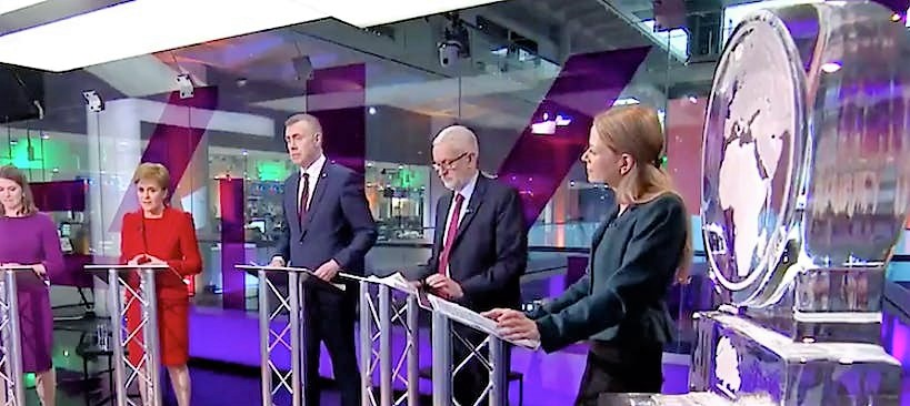 Channel 4 Climate Change Debate - Globe Ice Sculptures with party leaders